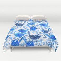 Blue Birds Pattern Duvet Cover