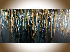 """***TITLE: """"Golden Shower ***SIZE: 48 x 24 x 1.5 Gallery Wrapped Canvas ***MEDIUM: Professional grade acrylics or oils on stretched canvas. The sides are painted black, so theres no need to frame it. A coating of varnish is applied to protect the painting. ***SHIPPING: Canada Post"""