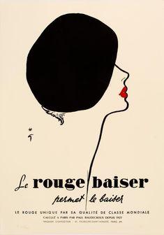 GRUAU, Rene. Le rouge baiser permet le baiser. – Sotherans Rene Gruau, New Pictures, Industrial Style, Vintage Posters, Illustration, Movies, Fashion, Red, Merengue