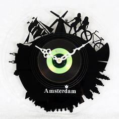 Amsterdam Vinyl Record Clock