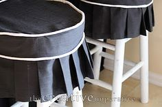 good will bar stools and some fabric... voila!