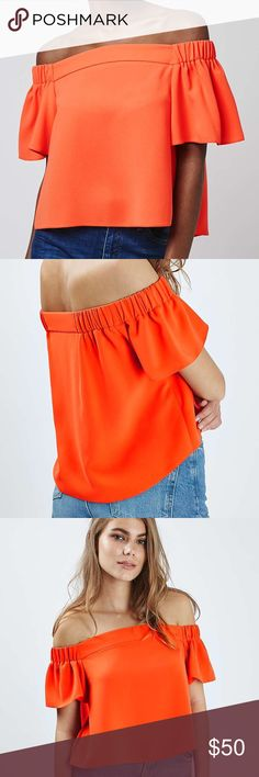 Topshop Orange Bardot Top Perfect top! In stores now. Purchased a size too small NEVER WORN! Topshop Tops Blouses