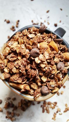 {Healthy, Low Calorie, Vegan} Made without oil or butter, this mocha granola is a healthy and delicious addition to breakfast, and pairs wonderfully with your morning cup of coffee!
