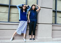 Street Style: New York Fashion Week Spring 2016 Ready-to-Wear |Sung Hee Kim in Isabel Marant shoes and Ji Hye Park in Sacai