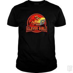 Clever Velociraptor Girl - Classic Guys / Unisex Tee / Black / 2XL
