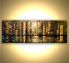 Descripción de la obra de arte: Downtown Tamaño: 72 x 24 x1.5 espesor / profundidad Medio: Profesionales colores acrílicos sobre lienzo, técnica mixta. Le envío su pintura estirada. Caras pintadas, listas para colgar. No hay necesidad de enmarcarlo. Se proporcionará un certificado de