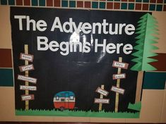 Camping Theme Classroom Bulletin Board Back To School 51 Ideas Travel Bulletin Boards, Welcome Bulletin Boards, Kindergarten Bulletin Boards, Summer Bulletin Boards, Reading Bulletin Boards, Back To School Bulletin Boards, Classroom Bulletin Boards, Classroom Themes, In Kindergarten