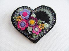 Felt Flower Heart Pin by Beedeebabee on Etsy, $30.00