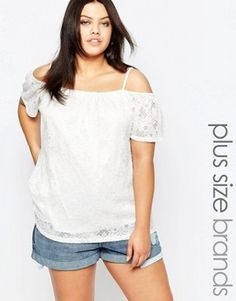 New Look Plus Crepe Flutter Coldshoulder Top