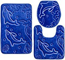 Elvoki 3 Piece Bathroom Rug Mat Set Memory Foam And Contour Rug Sets With  Lid Cover, Royal Blue   Note: This Lid Cover Rug Works For Round Toilet Lid