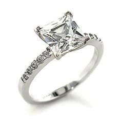 Women's 4.25 Ct. Princess Cut CZ Silver Plated Engagement Ring Eternal Sparkles. $24.99
