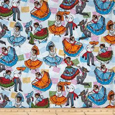 Mexican Folklore Folklore Ballet Blue/Multi from @fabricdotcom  For David Textiles, this cotton print fabric is perfect for quilting, apparel and home decor accents. Colors include pink, purple, blue, white, black, brown, grey and orange.