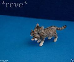 OOAK Realistic Handmade ~ Cat carrying Kitten ~ Dollhouse Miniature 1:12 Sculpt (another lovely miniature from Reve)