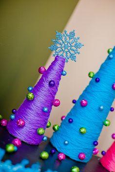 Yarn wrapped Christmas trees