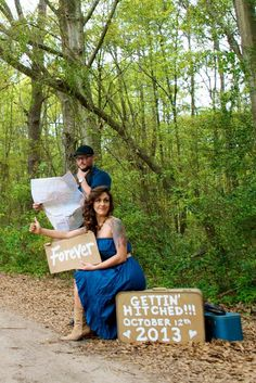 Vintage suitcase, blue, hitchhiking, map, outdoors. Rustic engagement by Olympia Flaherty