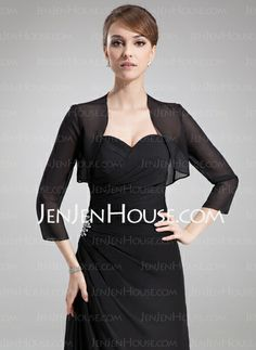 Wraps - $29.99 - 3/4-Length Sleeve Chiffon Special Occasion Wrap (013012275) http://jenjenhouse.com/3-4-Length-Sleeve-Chiffon-Special-Occasion-Wrap-013012275-g12275    ..... This is the style of Jacket