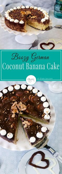 This German cake made with coconut, banana, rum, and chocolate is a perfect treat for Valentine's Day or any other occasion. It is light, creamy and not too sweet. | allthatsjas.com |#cake #baking #ValentinesDay #sweetheartday #mothersday