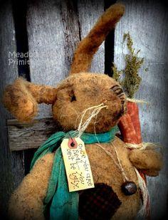 Primitive Folk Art Plush Fur Felt RabbitOnce by MeadowForkPrims