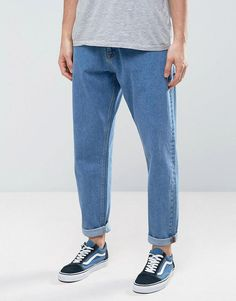 Buy ASOS Oversized Tapered Jeans In Vintage Mid Wash Blue at ASOS. Get the latest trends with ASOS now. Jeans Fit, Shoes With Jeans, Jeans Style, Tapered Jeans Men, Jeans Vintage, Flannel Lined Jeans, Oversized Jeans, Mode Jeans, Outfit Jeans