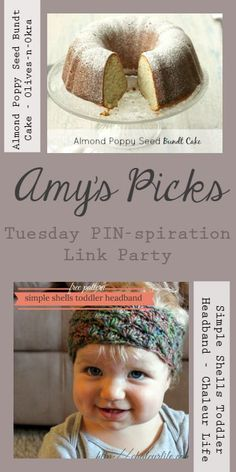 Amy's Picks |Almond Poppy Seed Bundt Cake/Simple Shells Toddler Headband | Tuesday PIN-spiration Link Party www.thestitchinmommy.com