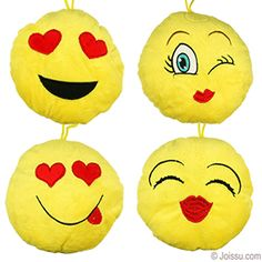 PLUSH LOVE EMJOIS. With adorable emoji smiley faces embroidered on super-soft velvet with small woven carrying loops. Assorted styles. These make the perfect gifts for Mother's Day, Valentines Day and Father's Day. Also ideal for Easter basket treats and party favors. Size 6.5 Inches