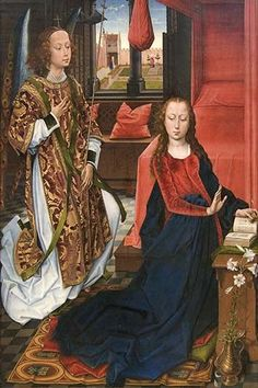 One of the largest surviving Netherlands depictions of the Annunciation, this imposing painting may have been the left wing of an altarpiece commissioned by the Cluny family, whose coat of arms decora