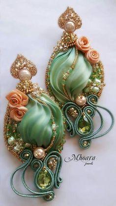 ' Chinese Spring ' earrings - shibori silk and soutache designed by Mhoara Jewels