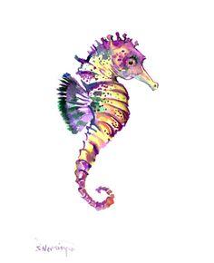 Seahorse Art, One of a kind original watercolor painting sea world illustration children sea animals animal art, beach 12 x 9 nautical