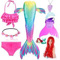 Cola De Sirena Para Nadar Niños Niñas Con Bikini y Mochila 4 Pcs Set Color Cian