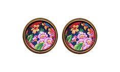 Vinatge Style Floral Earrings, Black Big Flower Earrings, Floral Accessories, Party Earrings, Bridemaids Earrings,  Retro Style Earrings