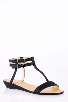 Sparkly Ankle Strap T-Bar Wedge Sandals