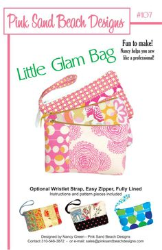 Beach Bag Sewing Pattern Free | Little Glam Bag Sewing Pattern Pink Sand Beach Designs