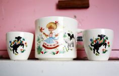 Little Bo Peep Mug and Egg Cups Vintage Children's by kitschparade, $35.00