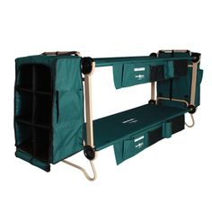 *in my dreams!* Disc-O-Bed, Cam O Bunk 32 in. Green Bunkable Beds with Leg Extensions Bed Side Organizers and Hanging Cabinets at The Home Depot - Mobile Tent Camping Beds, Camping Gear, Camping Hacks, Outdoor Camping, Camping Outdoors, Camping Cabins, Truck Camping, Camping Stuff, Backpacking