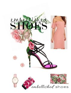 """""""Embellished Shoes a rose by any other name....."""" by rp-sn-stafford ❤ liked on Polyvore featuring Dolce&Gabbana, Kate Spade, Missguided, Topshop and Ted Baker"""