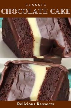 Classic chocolate cake – recipes & DIY – About Dessert World Healthy Dessert Recipes, Just Desserts, Baking Recipes, Amazing Dessert Recipes, Amazing Deserts, Healthy Food, Party Desserts, Classic Chocolate Cake Recipe, Classic Recipe