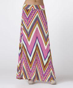 Pink Chevron Maxi Skirt - Plus   zulily