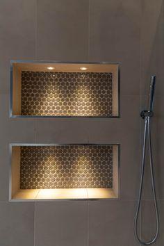 Bathroom Niche, Shower Niche, Bathroom Ideas, Small Bathroom, Master Bathroom, Tub Remodel, Shower Remodel, Remodel Bathroom, Bathroom Remodeling