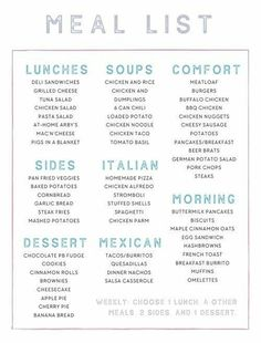 An example of my Master Meal List. An example of my Master Meal List. Monthly Meal Planning, Family Meal Planning, Budget Meal Planning, Budget Meals, Family Meals, Weekly Meal Plan Family, Weekly Dinner Plan, Meal Planning Printable, Weekly Meal Planner