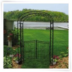 Arche de jardin en fer forge avec portillon meubles de for Portillon jardin metal