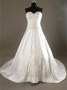 A-line Strapless Sweetheart with Beadings and Embroideries Taffeta Satin Wedding Dress WD1132 www.tidedresses.co.uk $232.0000