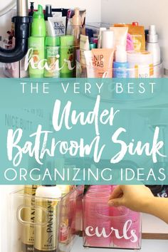 HOW TO ORGANIZE UNDER THE BATHROOM SINK - These clever under bathroom sink organization ideas will help you finally organize the bathroom cabinet under sink! #bathroomorganization #bathroomorganizer #organizationideas #organizeundersink #undersinkorganization