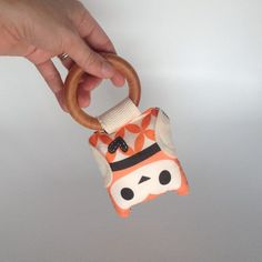 Unisex baby rattle Owl softie Orange with black and by kookinuts