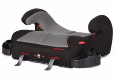 Solana backless booster seat by Diono. This car seat has extra length for leg support, foldaway cup holders & LATCH connectors for secure installation.