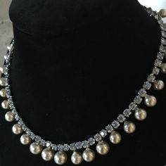 Vintage rhinestone and pearl necklace Sparkly baby blue rhinestones all the way around! None missing. Great vintage condition. Some slight oxidation that does not show when wearing. Jewelry Necklaces
