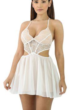 e83266987091 White Crochet Bralette Criss-Cross Straps Chiffon Romper