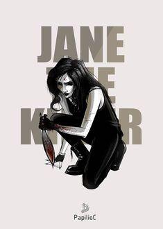 Jane the killer by PapilioC on DeviantArt Creepypasta Girls, Creepypasta Characters, Spooky Scary, Creepy Cute, Creepy Stuff, Creepypasta Wallpaper, Copic Drawings, Alice Liddell, Creepy Pasta Family