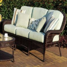 Retail $1299, Our Price $840. Outdoor Patio Furniture. South Sea Rattan Furniture w/ Sunbrella Fabric (Key West- Sofa).  www.wemakedirtlookgood.com  http://www.facebook.com/landscapelightinganddesign, http://www.facebook.com/southernlightsofnc, http://www.facebook.com & www.southernlightsofnc.com