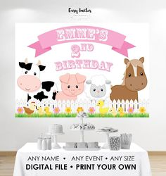 Print Your Own Farm Birthday Banner - can be customised or left with generic text to potentially sell after your Farm Birthday. This listing is for the digital file only - PRINTING IS NOT INCLUDED Matching invitations and other printables: http://etsy.me/2vOMR1W This poster will be
