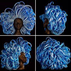 Foam wig in blue created by foamwigs.uk